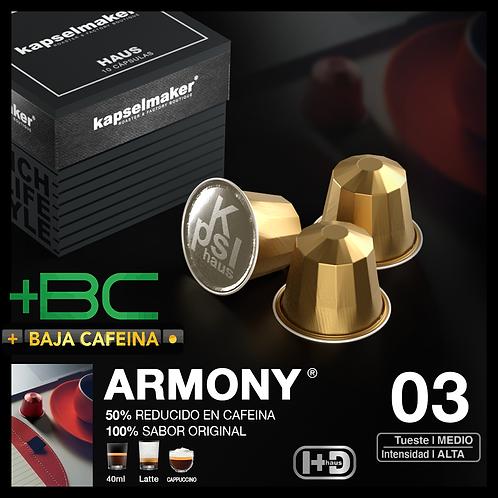ARMONY +BC *Bajo en Cafeína* Tueste Alto/Intensidad Media 10u