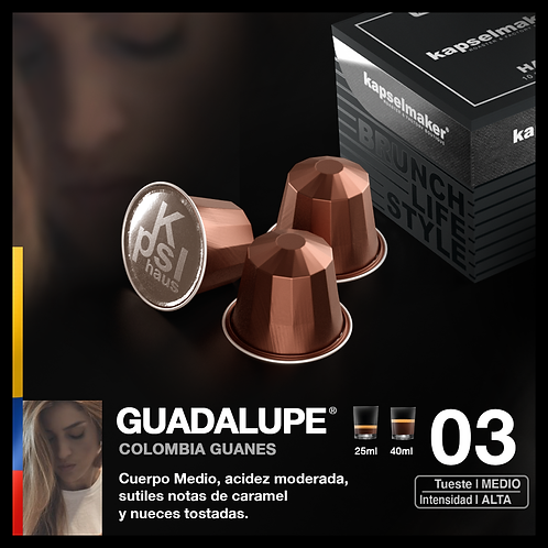 Guadalupe , Colombia Guanes - Tueste Medio Intensidad Alta x 10 Capsulas
