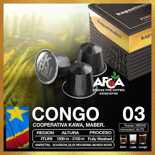 Congo, Fincas del Mundo. 03 Tueste Medio Intensidad Alta. 10 capsulas