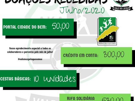 Prestação de Contas - Doações Recebidas - Julho/2020