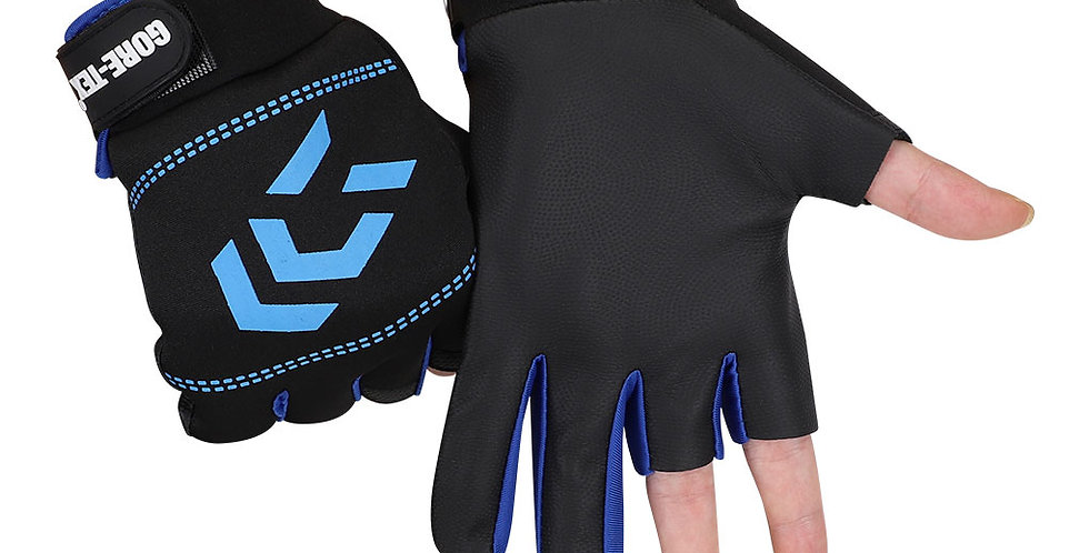 1 Pair Fishing Gloves Men Women Outdoor Fishing Anti-Slip 3 Cut Finger Sports ..