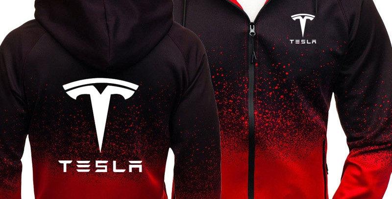 Hoodies Men Tesla Car Logo Print Casual HipHop Harajuku Gradient Color Hooded...