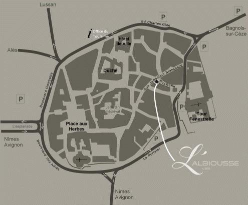 Uzès town map