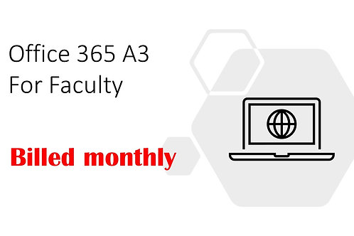 1 Month Subscription of Office 365 A3 For Faculty