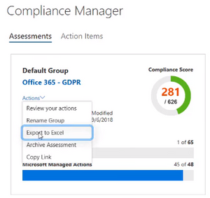 Compliance Manager Export to Excel