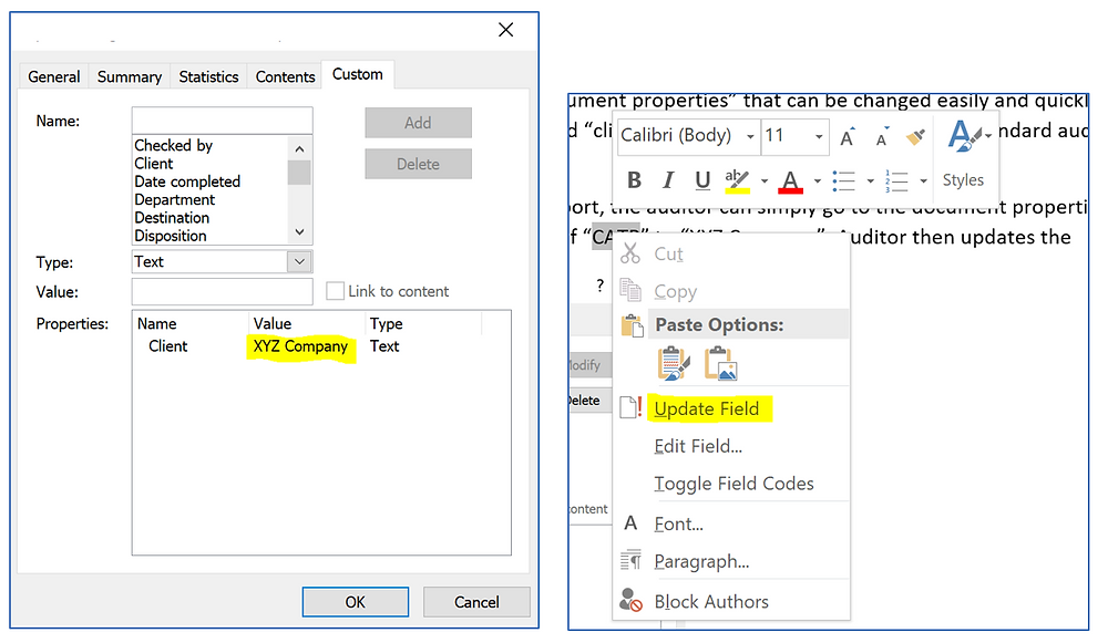 Using Document Properties Function in Microsoft Word