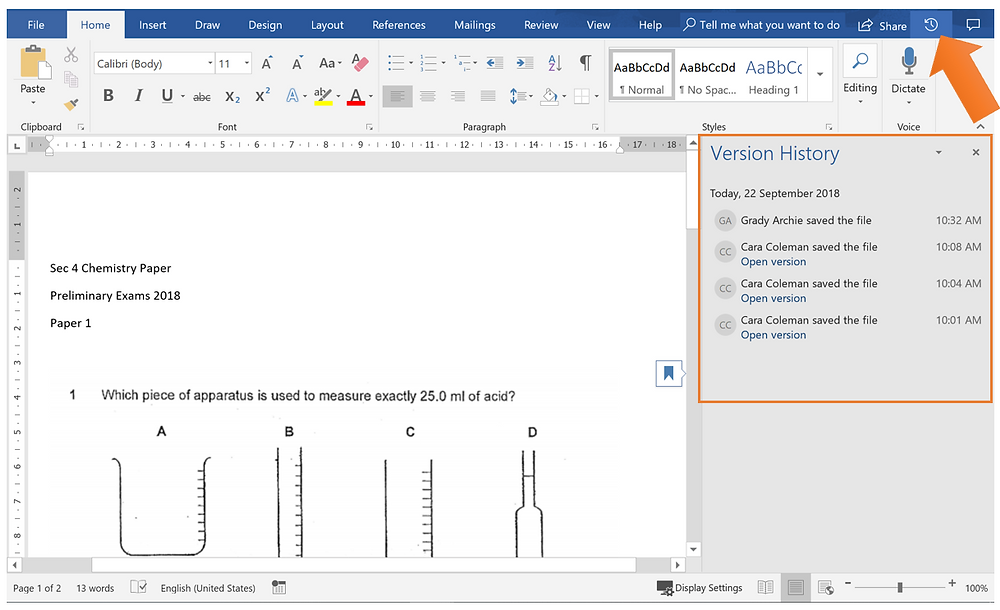 Version history in Microsoft Word doc