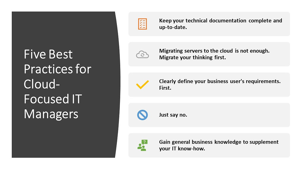 Five Best Practices for Cloud-Focused IT Managers