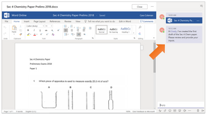 Sending a message regarding a document from Teams
