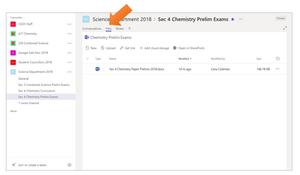 Files tab in Teams
