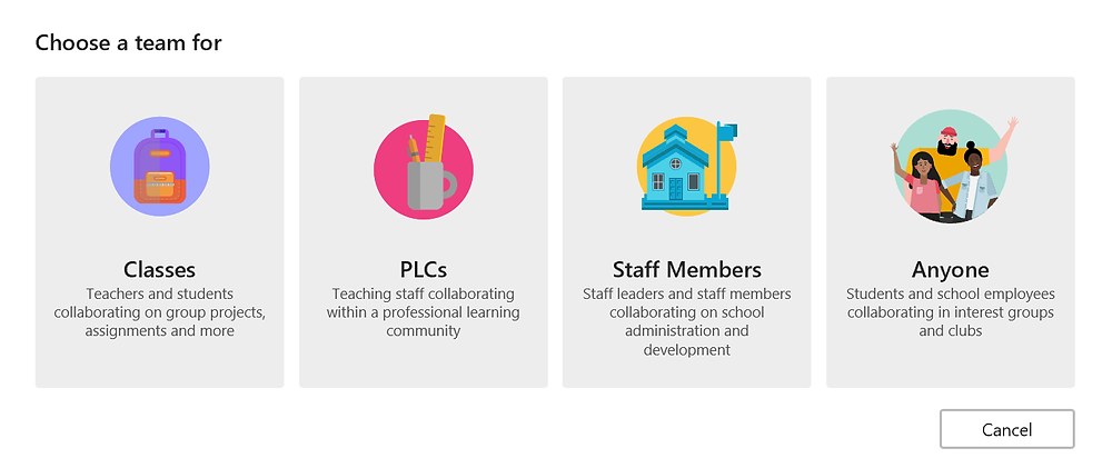 Microsoft Education Team Types