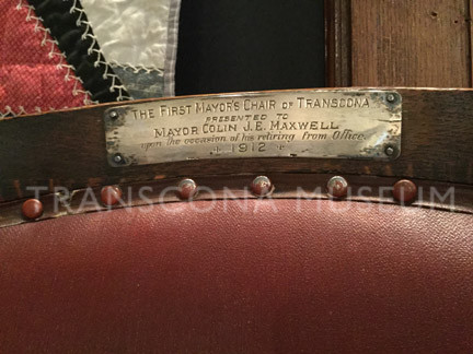 Close up of plaque on Mayor's chair