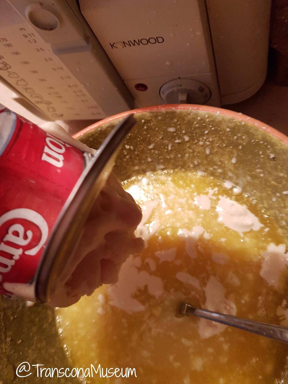 Adding frozen condensed milk to jello