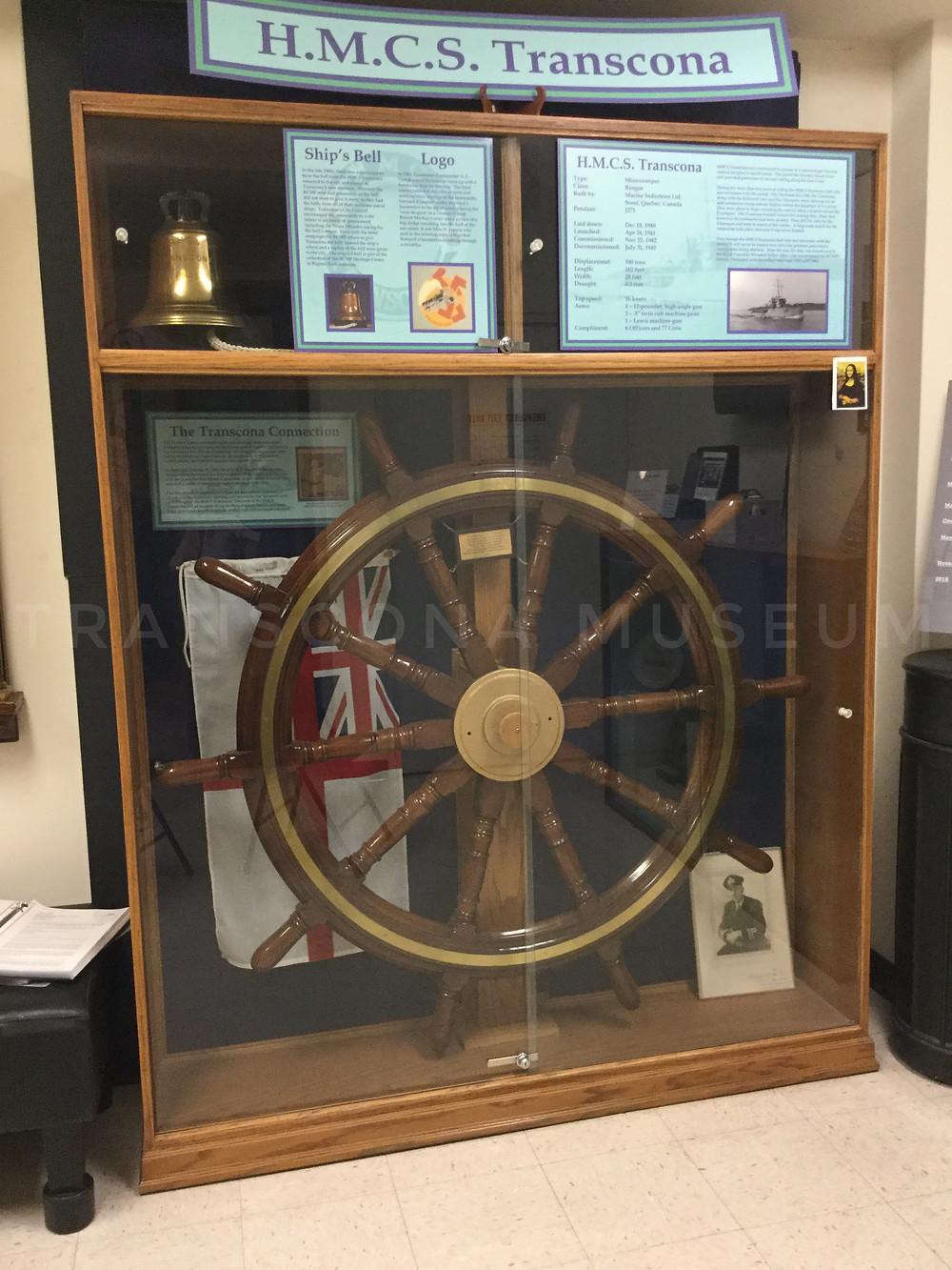 HMCS Wheel and Replica bell at Transcona Museum