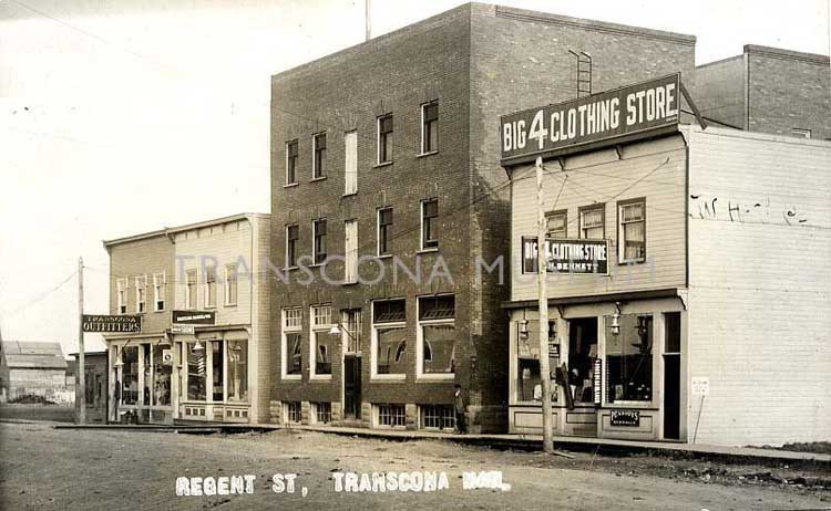 Big 4 Clothing Store, Vivian Hotel, Transcona Barber Shop, and Transcona Outfitters - 110 to 118 Regent Avenue West