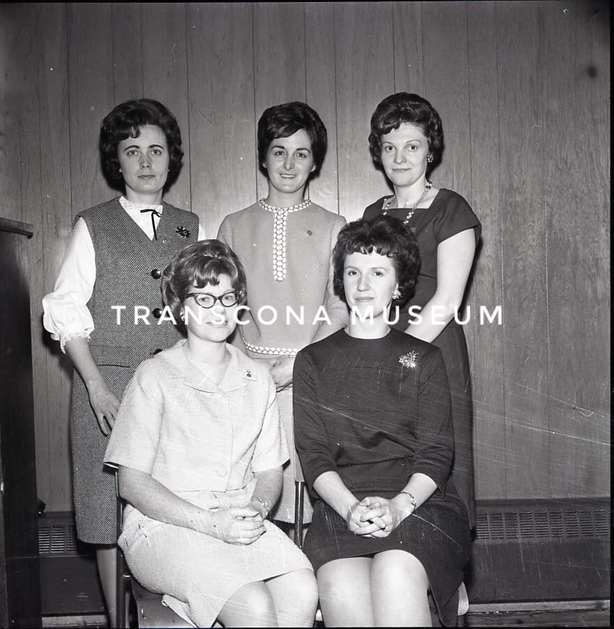 {Charter members of Letitia Theta Rho Club No. 1 who recently become members of Confidence Rebekah Lodge No. 40. Front row from left – Miss Ada Swann, Mrs. Patricia Savoie. Standing – Mrs. Joan Garner, Mrs. Joyce Nykoluk and Mrs. Dorothy Mann. (TMArchives, TH99.38.150.31)}