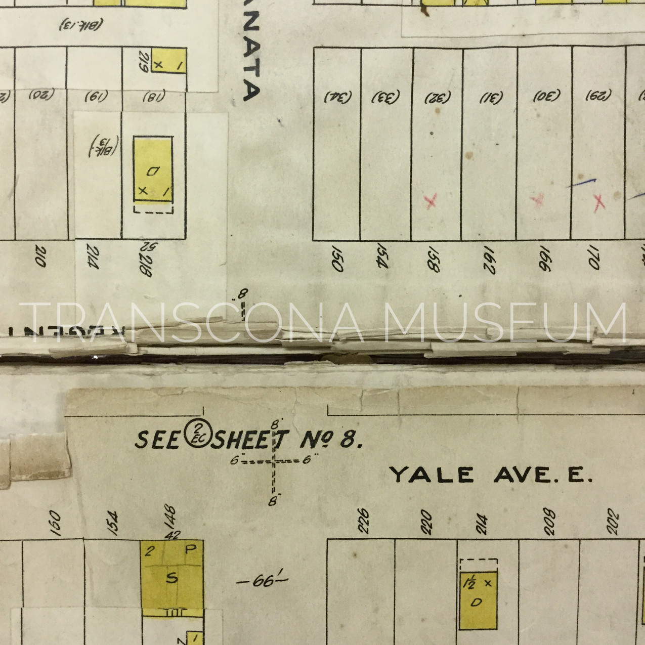 Close-up of Fire Insurance Plan at the intersection of Yale Ave E and Kanata St.