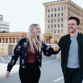 Anna + Nick Rooftop Engagement Session | Salt Lake City, Utah Wedding Photographer
