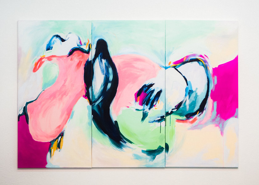 Abstract Large Original Painting with Bird