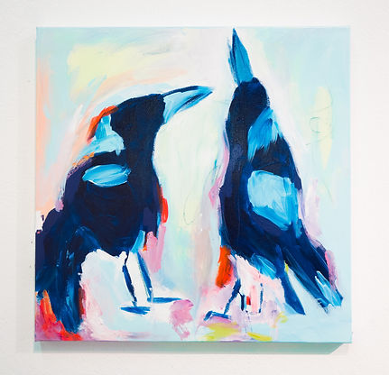 Magpie Bird Colorful Abstract Painting
