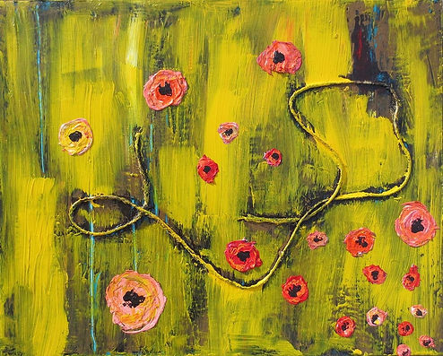 Abstract art yellow painting