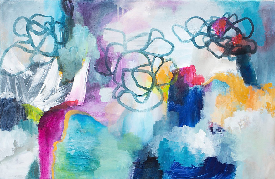 Abstract expressive painting with bold colors by Amarillo Texas artist