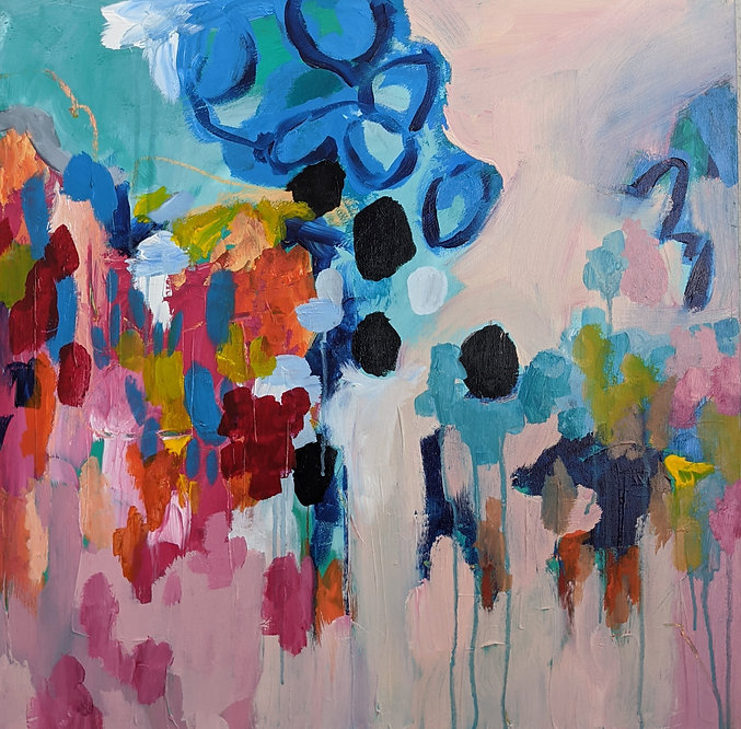 Pink and Blue Original Abstract Painting Commission