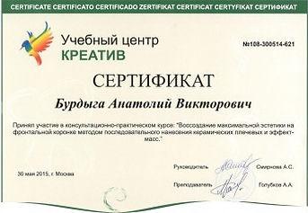 Сертификат Бурдыга А. В.