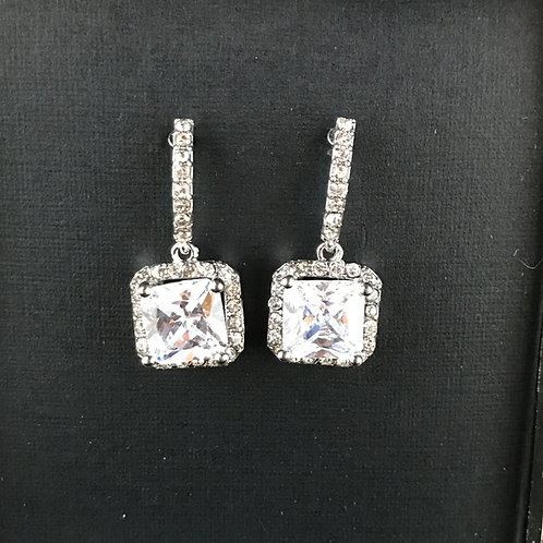 Bridal Party Silver square cubic zirconia earrings