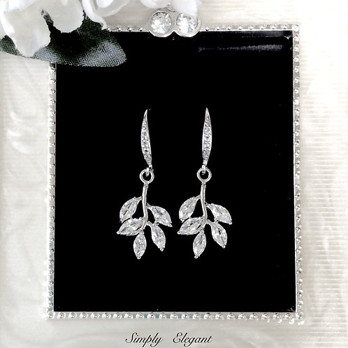 Bridal party silver plated crystal leaf dangle earring