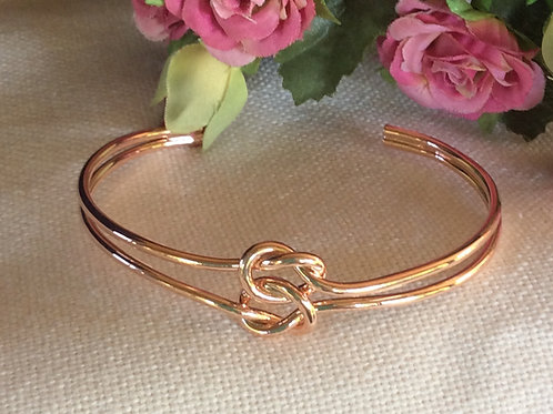 Bridal party rose gold knot bracelet