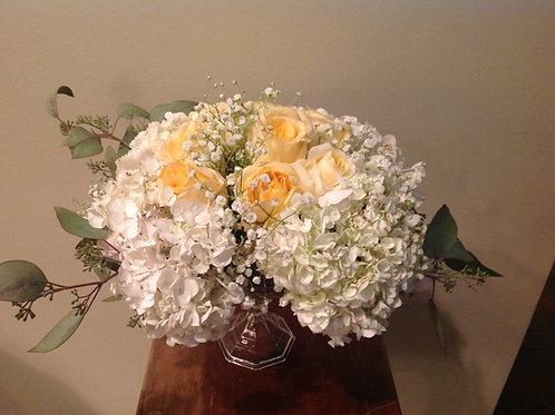 Hydrangea and rose centerpiece