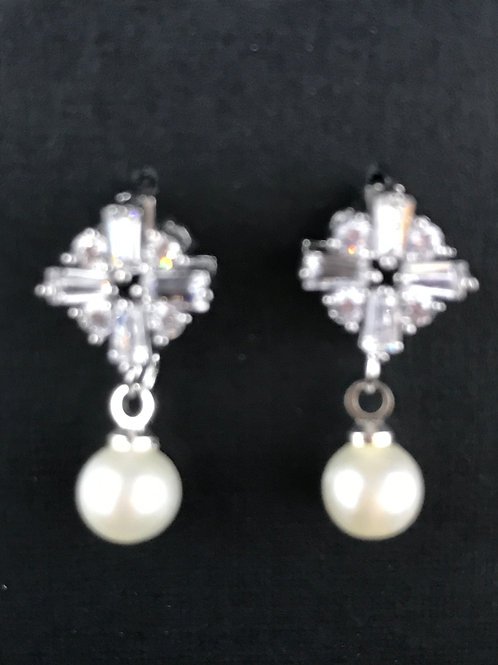 Dainty white gold plated with clear crystals and fresh water pearl earrings