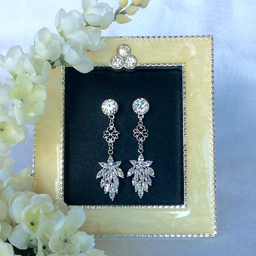 Bridal party 3 tier silver plated high end dangle earrings