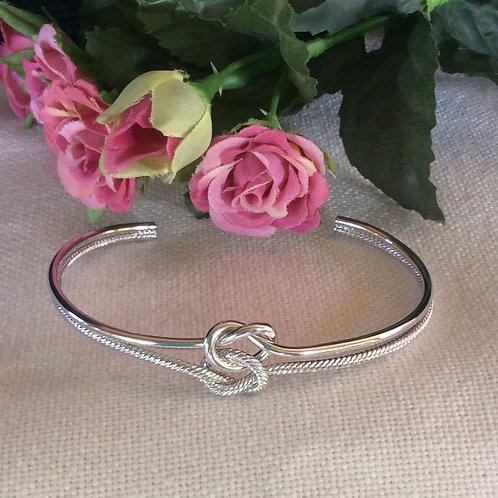 Bridal party double knot silver cuff bracelet