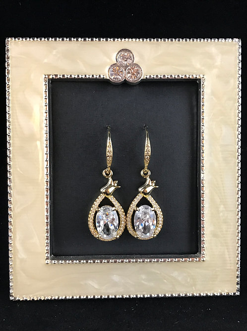 Bridal party gold cubic zirconia tear drop earrings