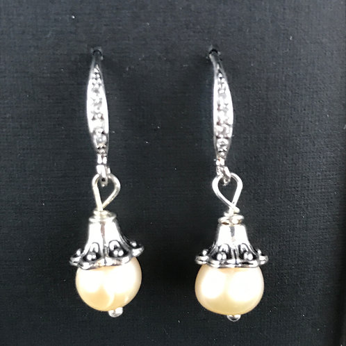 silver french hooks with crystals and freshwater pearl earring