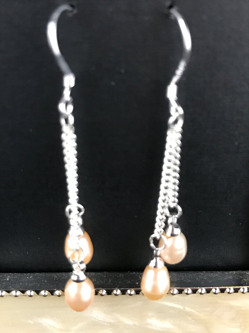 Dainty sterling silver earrings with 2 fresh water pearls
