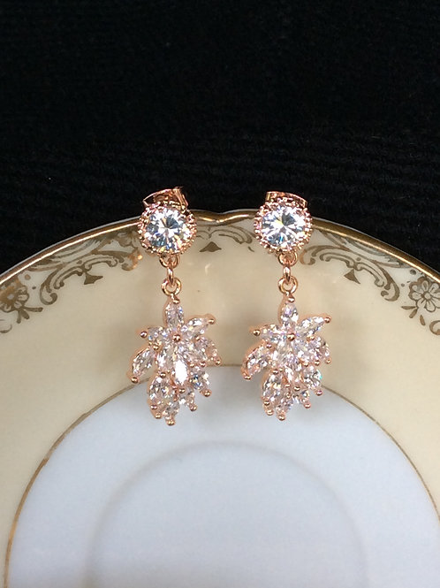 Bridal party elegant rose gold dangle earrings