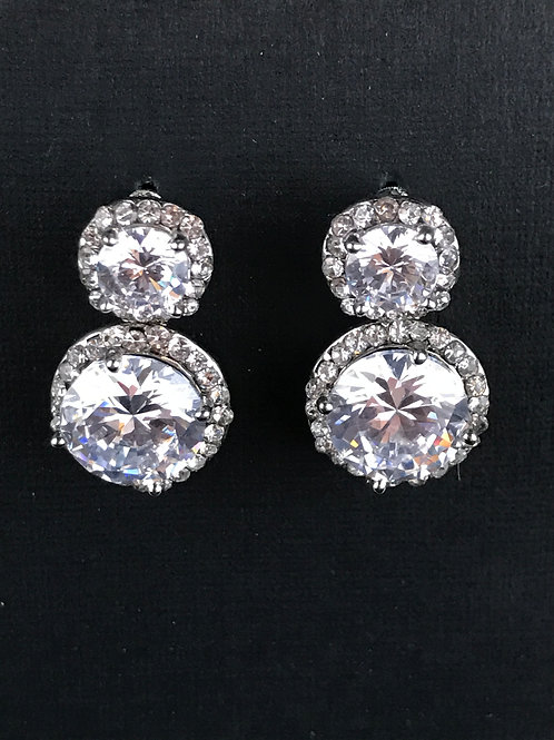 Sterling silver post with high grade cubic zirconia earrings