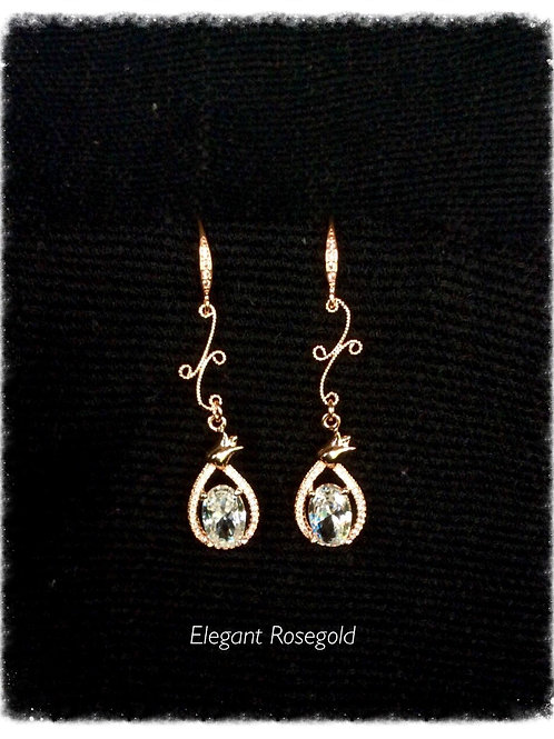 Bridal party long rose gold tear drop crystal earrings.