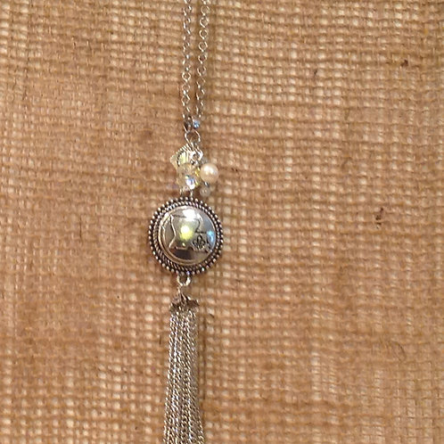 Silver snap necklace with pearls, silver beads, charms, crystal, and La snap