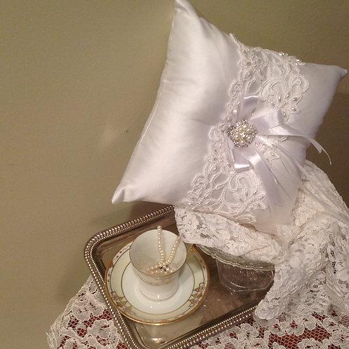 White Elegance Ring Bearer pillow