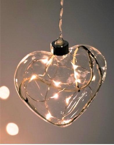 Hanging Glass Heart Light
