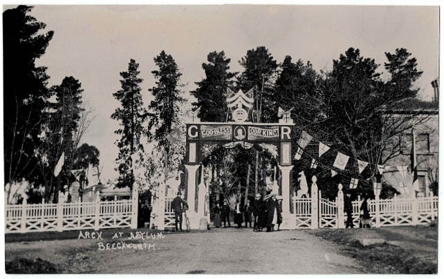 1937 Coronation arch next to The Gatehouse