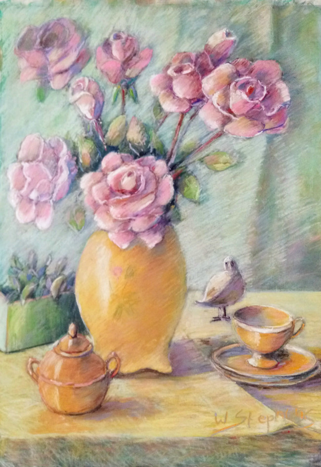The Golden Sugar Bowl with pink roses