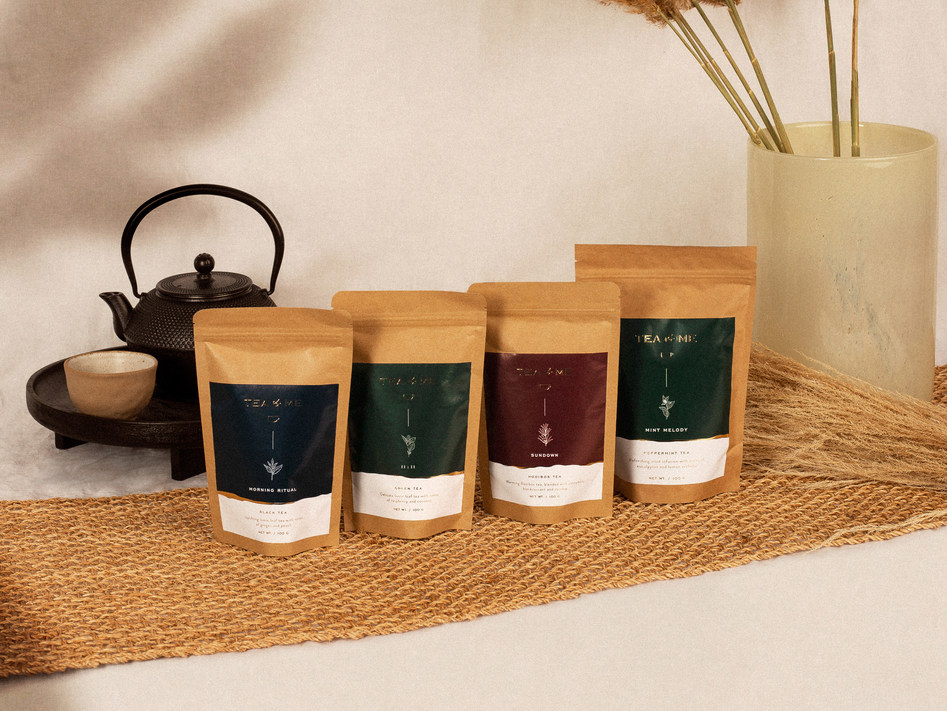 Minimalist branding and packaging design for Tea&Me is a London-based company of organic, loose-leaf teas.  Read More ↓