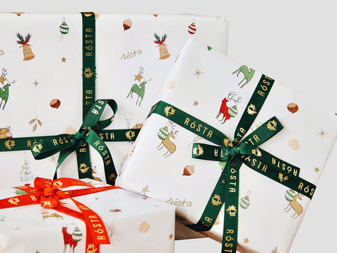 The brand of organic hazelnut and nut butter Rosta Christmas papers for special edition.  Read more ↓