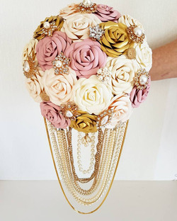 Cascade gold pink brooch bouquet