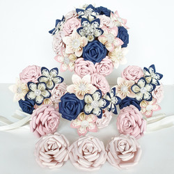 Pink blush Navy Blue wedding theme colours bouquet paper origami bridal